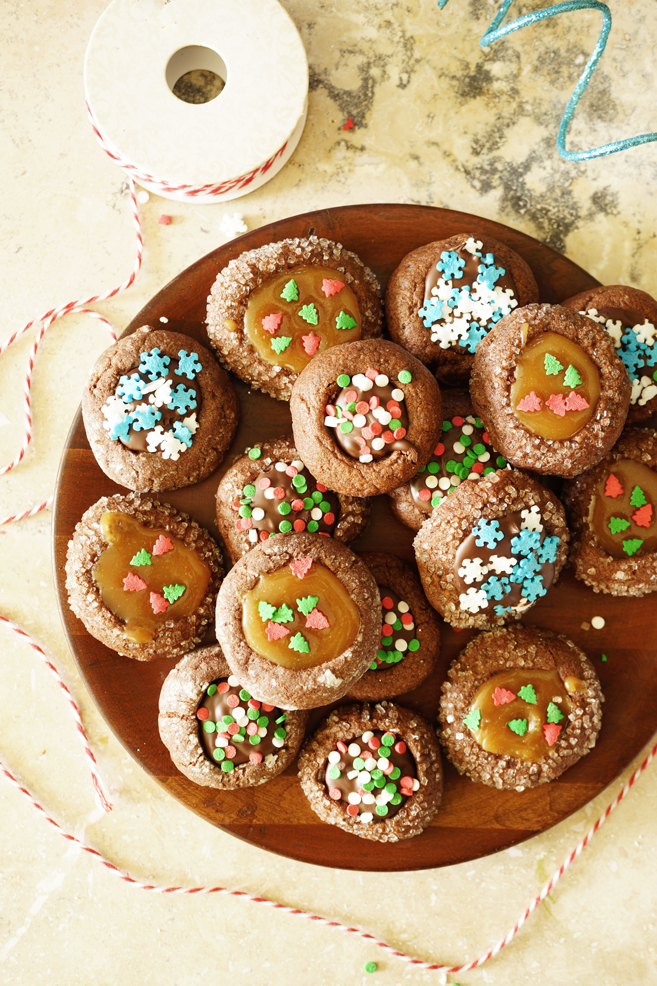 Chocolate Thumbprint Cookie with Caramel